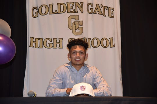 Golden Gate High School football player committed to the University of St. Thomas at a signing ceremony at his school Wednesday, Feb. 5, 2020.