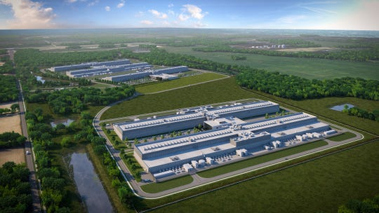 A rendering of the recently opened Facebook data center in Licking County, and the additional buildings to come, announced on Feb. 6.