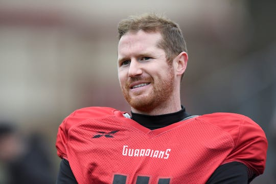 New York Guardians quarterback Matt McGloin on the sideline after practice on Thursday, Feb. 6, 2020, in Hillburn, N.Y.