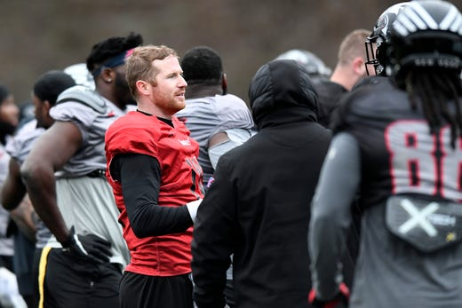 New York Guardians quarterback Matt McGloin (red) participates in a team practice on Thursday, Feb. 6, 2020, in Hillburn, N.Y.