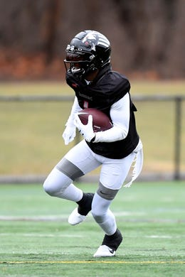 New York Guardians wide receiver Mekale McKay (1) participates in practice on Thursday, Feb. 6, 2020, in Hillburn, N.Y.