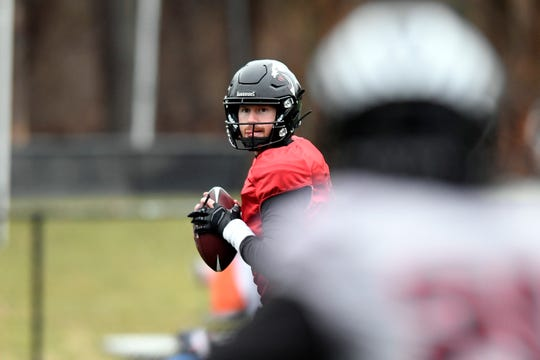 New York Guardians quarterback Matt McGloin looks for an open receiver during practice on Thursday, Feb. 6, 2020, in Hillburn, N.Y.