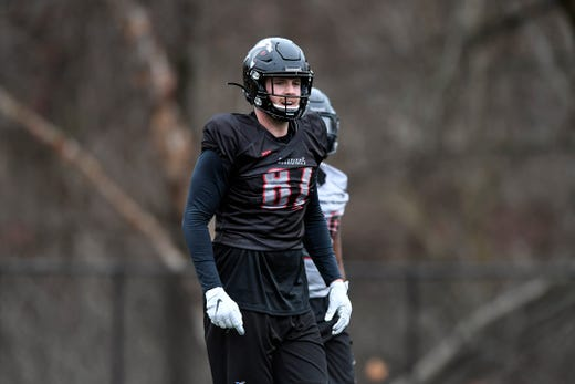 New York Guardians tight end and former Monmouth University player Jake Powell (87) participates in team practice on Thursday, Feb. 6, 2020, in Hillburn, N.Y.