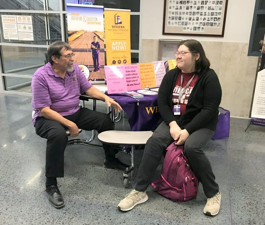 Kenneth Leupold, director of Western New Mexico University-Deming campus, has been providing information on the university's range of studies at Deming High School during Wildcat and Lady 'Cat basketball games.