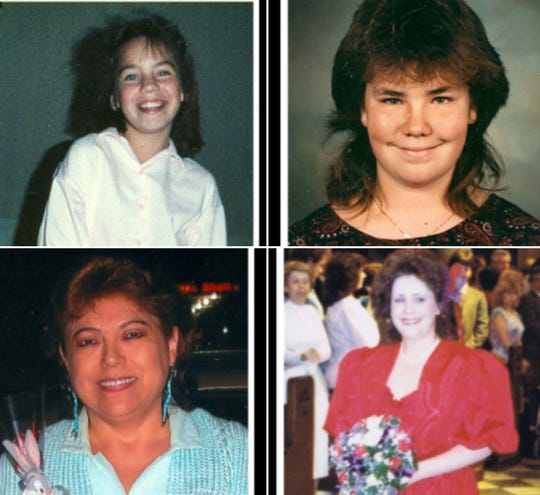 Four of the seven victims of the Bowling Alley Massacre, Amy Houser, Amy Houser, 13, Melissia Repass, 12, Ida Holguin 33, and Stephanie Senac, 34.