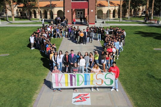 Palm Springs High Schoool students participate in a kindness activity.