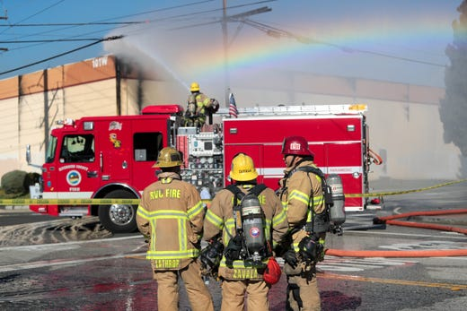 Riverside County Fire Department works to put out a three-alarm warehouse fire near Highway 243 in Banning, Calif. on Thursday, February 6, 2020.