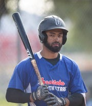 Greg Vaughn Jr plays for the Manitoba North Stars in the California Winter League. He is the son of Greg Vaughn Sr. who played in Major League Baseball. In this photo he bats during a game in Palm Springs,