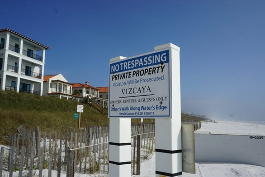 "Private property signs on Walton County beaches threaten  ""prosecution"" to beachgoers who could be accused of trespassing under Florida law."