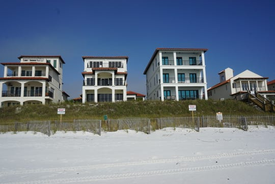 According to Walton County attorney Daniel Uhlfelder, many of these beachfront properties like these are involved in a fight to restrict public access to vast portions of the beach behind these homes and down to the Gulf of Mexico.