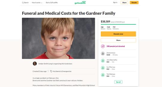 A GoFundMe for Holden Gardner raised more than $38,000 as of Feb. 6, 2020.