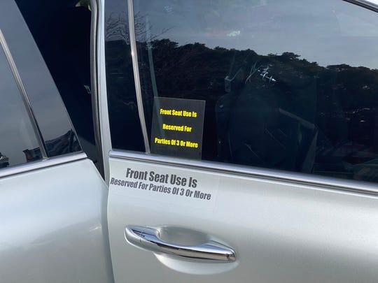 Stickers on Randy Clarke's car.
