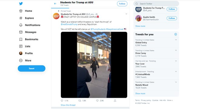 """An account that appears to be associated with an Arizona State University student organization shared a video of a man on the Tempe campus screaming, """"Slash Republican throats."""""""