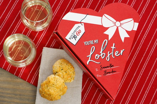 "Starting February 10, Red Lobster will be offering a ""You're My Lobster"" box for their Cheddar Bay Biscuits."
