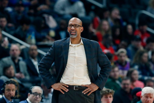 Phoenix Suns head coach Monty Williams watches during the second half of an NBA basketball game against the Detroit Pistons, Wednesday, Feb. 5, 2020, in Detroit. (AP Photo/Carlos Osorio)