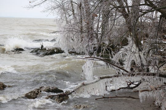 Much of Ottawa County, especially along the coast of Lake Erie, was coated with a layer of ice on Thursday morning after getting slammed by wind, snow and freezing rain overnight Wednesday.