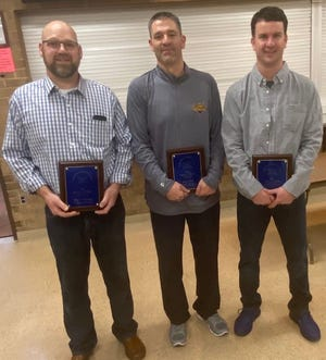 The most recent additions to the Susquehanna League Hall of Fame are, from left: Micah Workinger, Jason Seitz and Doug Bacon. The fathers of all three men had previously been inducted into the same hall of fame.