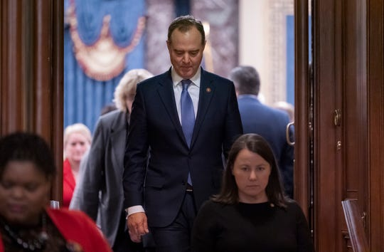 House Democratic impeachment manager, Intelligence Committee Chairman Adam Schiff, D-Calif., leaves the Senate chamber after the acquittal of President Donald Trump on charges of abuse of power and obstruction of Congress, at the Capitol in Washington, Wednesday, Feb. 5, 2020. (AP Photo/J. Scott Applewhite)