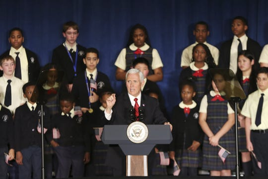 Vice President Mike Pence speaks at St. Francis de Sales School in West Philadelphia on Wednesday, Feb. 5, 2020. Pence and Secretary of Education Betsy DeVos were at the school for an event about school choice. (Tim Tai/The Philadelphia Inquirer via AP)