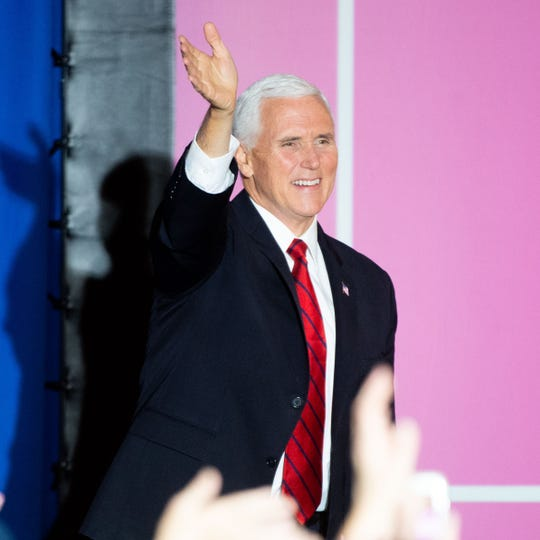 Vice President Mike Pence takes the stage a wave to supporters during the Women For Trump Rally in the Radisson Hotel in Harrisburg, Pennsylvania, Wednesday, February 5, 2020.