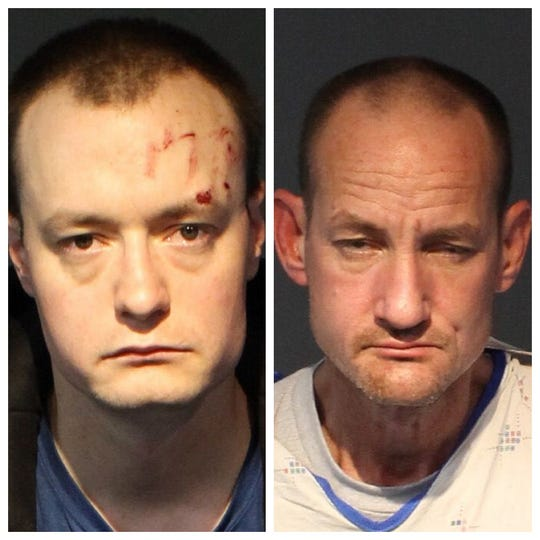 William Landon, 29, (left) and Charles Nolan, 45, were booked Wednesday, Feb. 5, 2020, into the Washoe County jail on robbery and burglary charges.