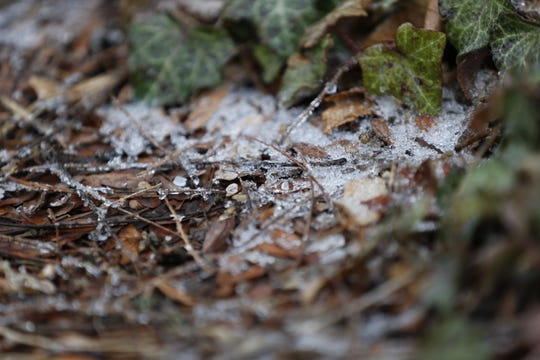 Pockets of ice remained on the ground after daybreak Thursday, Feb. 6, 2020, in Richmond.