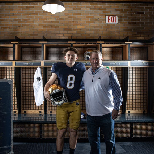 Richmond junior kicker Gage Puterbaugh poses with Notre Dame special teams coordinator Brian Polian during an unofficial visit in South Bend on Saturday, Feb. 1, 2020.