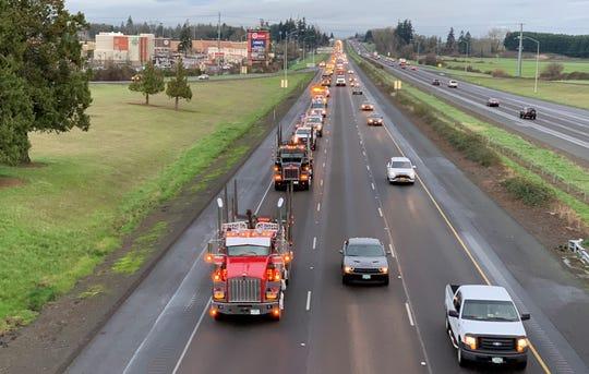 Trucks on southbound I-5 near the Keizer exit on Thursday, Feb. 6, 2020.