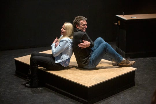 "Actors Kristen Grainger and Dan Wetzel rehearse ""Midsummer"", directed by Susan Coromel, on Jan. 30, 2020 at The Verona Studio in the Reed Opera House in Salem."