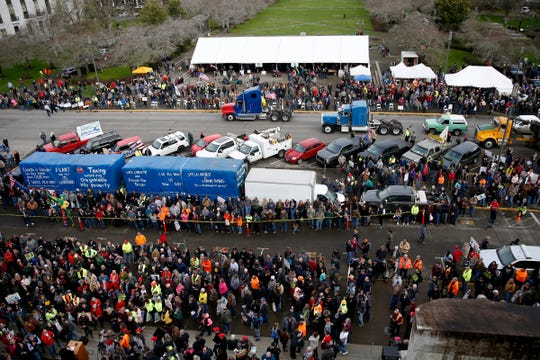 More than 2,000 people attend a Timber Unity rally protesting a proposed cap-and-trade bill at the Oregon State Capitol in Salem on Feb. 6, 2020.
