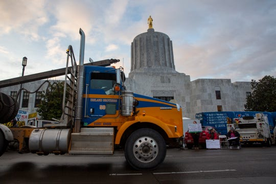 Hundreds gather at the Oregon State Capitol for the Timber Unity rally, a protest of the cap-and-trade bill on Feb. 6, 2020.