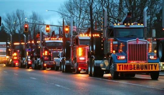 Trucks head towards southbound I-5 near the Keizer exit on Thursday, Feb. 6, 2020.