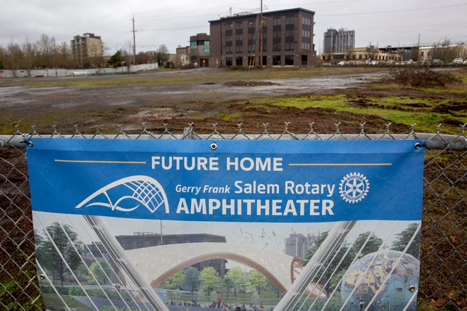 Barry Nelson, of the Rotary Club of Salem, gives a tour of the future site of their centennial project, the Gerry Frank Salem Rotary Amphitheater at the Riverfront Park in Salem on Feb. 5, 2020.