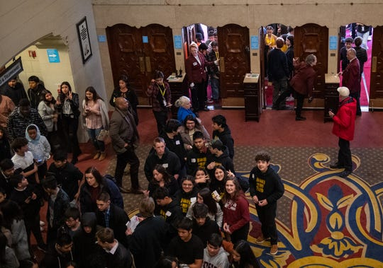 Monterey County students enter the Orpheum Theater in San Francisco during a field trip to watch the Hamilton play on Feb. 05, 2020.