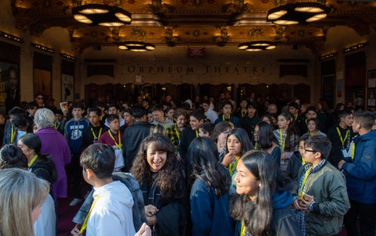 A group of Monterey County students exit the Orpheum Theater after the Hamilton play on Wednesday afternoon in San Francisco.