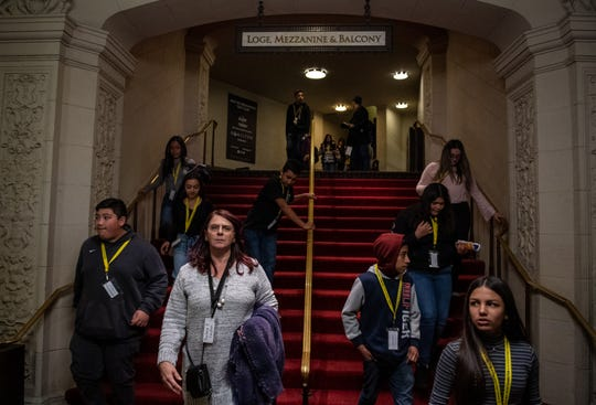 Monterey County students walk down the stairs of the Orpheum Theater in San Francisco on Feb. 05 as the Hamilton play comes to an end.