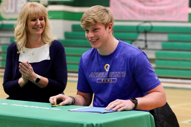 Wall High School's Stuart Bumann signed a National Letter of Intent to play football for Angelo State University at a signing ceremony on Feb. 6, 2020, at Wall's gym.