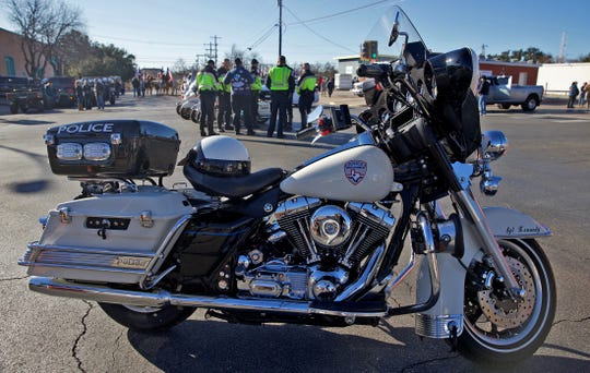 The motorcycle, seen in this Feb. 1, 2020 photo, ridden by SAPD Sgt. Korby Kennedy was recently acquired and restored as a memorial to the officer who was killed in the line of duty on June 25, 2015.
