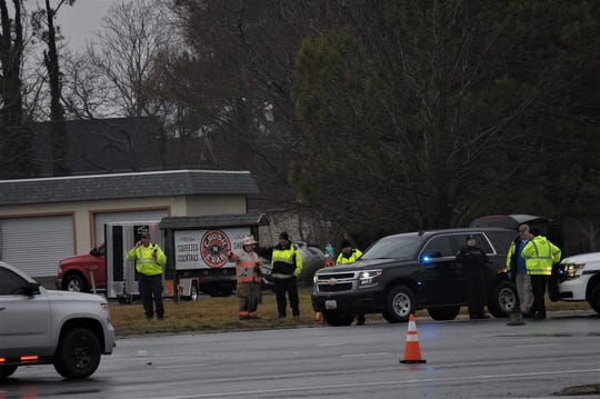 First responders clear the scene of a crash at Route 113 and Germantown Road, in Berlin, on Thursday, Feb. 6.