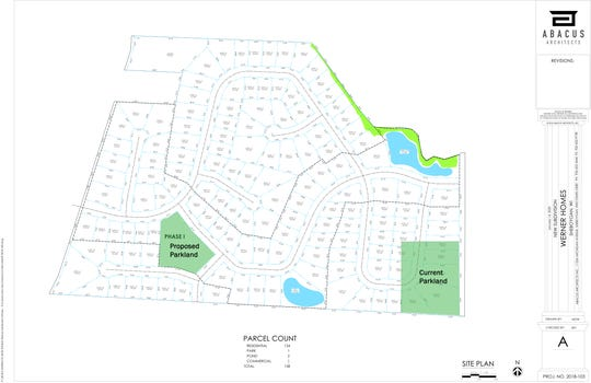 Rendering of proposed new subdivision between Moenning Road and South Business Drive.