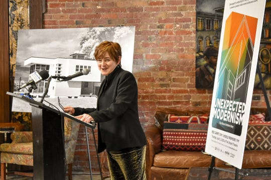 "Mischa Farrell, a Shreveport architect and Louisiana Architecture Foundation board member, announces details about the world premiere of ""Unexpected Modernism: The Architecture of the Wiener Brothers"""