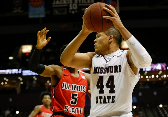 Gaige Prim protects the ball during Missouri State's game against Illinois State at JQH Arena in Springfield, Mo., on Wednesday, Feb. 5, 2020.
