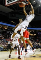 Tulio Da Silva dunks the ball during Missouri State's game against Illinois State at JQH Arena in Springfield, Mo., on Wednesday, Feb. 5, 2020.