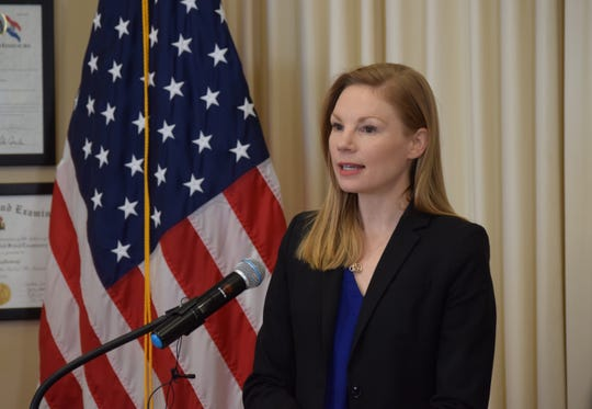 """State Auditor Nicole Galloway speaks to reporters at a press conference on February 6, 2020. On June 27, 2021, her office announced that it had completed its state audit of the County Sheriff's Office. Greene, giving GCSO an overall assessment """"good"""" rating while noting that certain financial controls needed to be improved."""