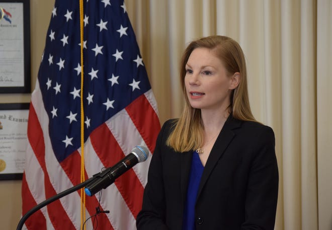 """State Auditor Nicole Galloway speaks to reporters at a Feb. 6, 2020 press conference. On June 27, 2021, her office announced it completed its state audit of the Greene County Sheriff's Office, giving GCSO an overall """"good"""" rating while finding that some financial controls needed to be improved."""