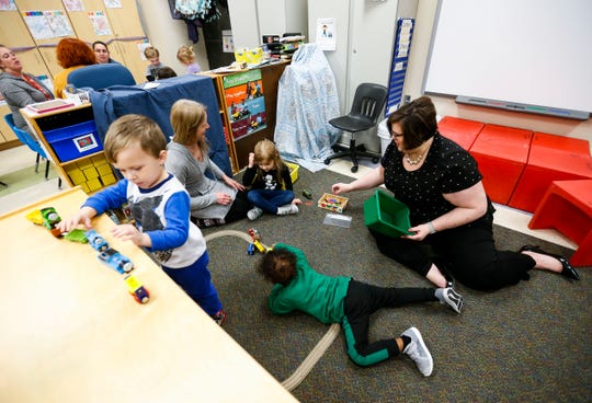Christy Davis, who has been named Director of Early Childhood Education and Parents as Teachers, interacts with students at the Shining Stars Early Childhood Center on Tuesday, Feb. 4, 2020.