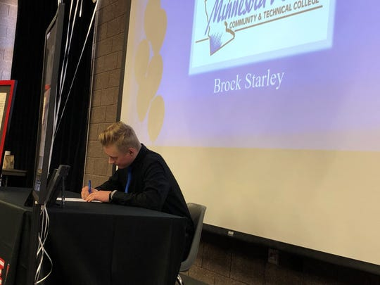 Hurricane's Brock Starley signs with Minnesota West Community Technical College on Wednesday, February 5th.