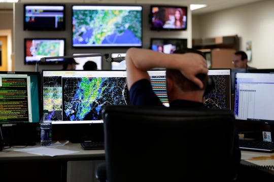 Mark Wool, warning coordination meteorologist for the Tallahassee National Weather Service, watches as a storm crosses through the Panhandle, Thursday, Feb. 6, 2020.