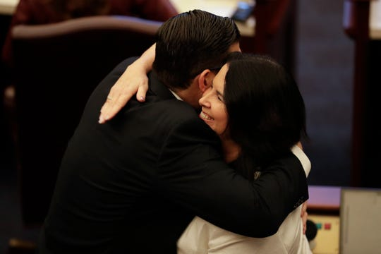 Sen. Manny Diaz hugs Sen. Kelly Stargel after Stargel's bill SB 404, requiring parental consent for abortion for minors, passed the Senate 23-17 along party lines at the Florida Capitol Thursday, Feb. 6, 2020.