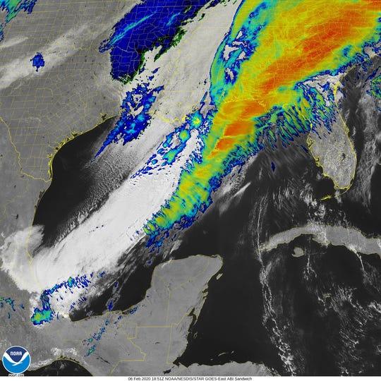 """A Goes-Satellite infrared view of the squall which could bring """"widespread wind damage"""" to the region."""